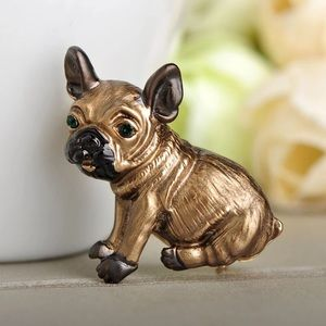 Jewelry - Gold Pug Dog Brooch with Green Eyes